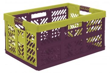 Műanyag, összecsukható rekesz, nagy többszínű, zöld, 54x37x28 cm