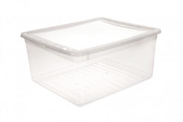 Basixx műanyag tároló doboz 18 l, átlátszó, 39x33,5x18 cm