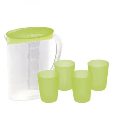 Kancsó és poharak, zöld - UTOLSÓ 1 DB