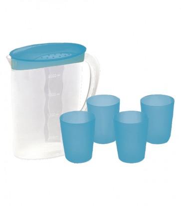 Kancsó és poharak, kék - UTOLSÓ 3 DB