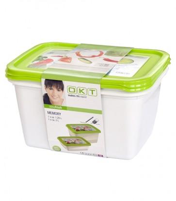 """""""Memory"""" élelmiszer tároló doboz szett 1,25 + 2 l - UTOLSÓ 3 DB"""