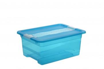Crystal műanyag tároló doboz 12 l, világoskék, 39,5x29,5x17,5 cm