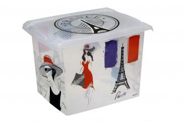 "Fashion műanyag tároló doboz,""FRANCE"", 39x29x27 cm - UTOLSÓ 5 DB"
