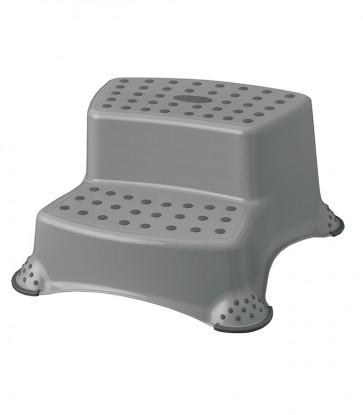 Műanyag lépcsős fellépő, DELUXE, szürke, 40x37x21 cm