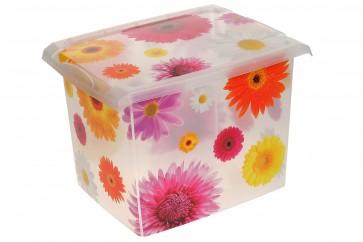 """Fashion műanyag tároló doboz , """"Pink Flowers"""", 39x29x27 cm - UTOLSÓ 3 DB"""