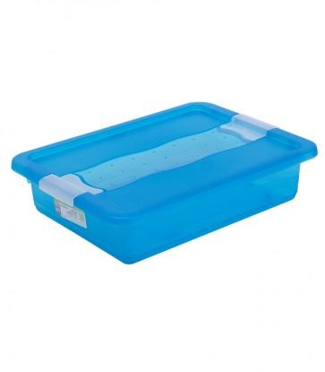 Crystal műanyag tároló doboz 7 l, világoskék, 39,5x29,5x9,5 cm