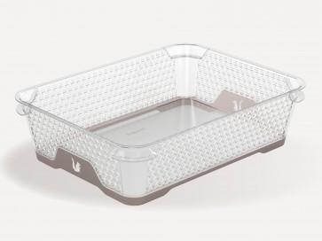 Jonas műanyag csúszásgátlós aljú kosár, A5, szürke, 26,5x20x7 cm