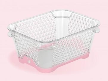 Jonas műanyag csúszásgátlós aljú kosár, A7, rózsaszín, 16x12x7 cm
