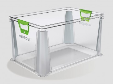 Eurobox műanyag tároló doboz, 64 L, átlátszó, 59x39x32 cm