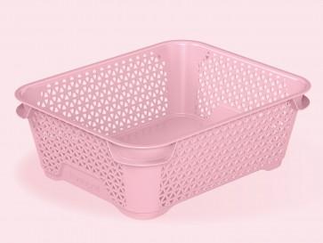 Mirko műanyag kosár, A6, rózsaszín, 20x16x7 cm