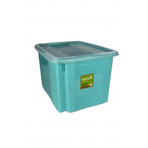 Színes műanyag doboz, 30 l, kék fedéllel