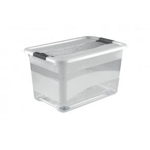 Crystal műanyag doboz 52 l, átlátszó, kerekeken,59,5x39,5x35 cm
