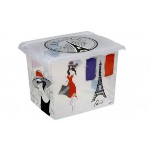 "Fashion műanyag tároló doboz,""FRANCE"", 39x29x27 cm - UTOLSÓ 2 DB"