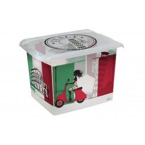 "Fashion műanyag tároló doboz,""ITALY"", 39x29x27 cm - UTOLSÓ 1 DB"