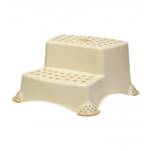 Műanyag lépcsős fellépő,  DELUXE, krémszínű, 40x37x21 cm