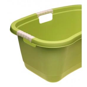 Ergonomikus ruháskosár puha fogantyúval, 49 L, zöld - UTOLSÓ 6 DB