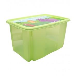 """Műanyag tároló doboz """"HIPPO"""", 45 l, zöld, fedéllel, 55x39,5x29,5 cm - UTOLSÓ 4 DB"""
