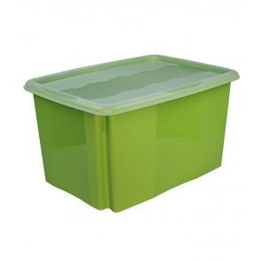 Colours műanyag tároló doboz fedéllel, 45L, zöld, 55x39,5x29,5 cm