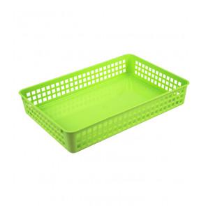 Műanyag kosár, A4, zöld, 36,5x24,5x6 cm