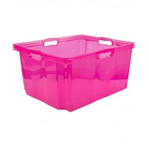 Multi XXL műanyag tároló doboz, világos rózsaszín, fedél nélkül, 52x43x26 cm