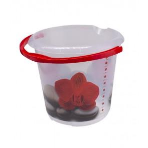 """Fashion műanyag vödör, """"Piros lótuszvirág"""", 30x28 cm, Térfogat: 10 L"""