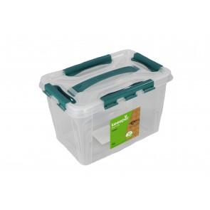Műanyag Clipp doboz, 10 l, átlátszó, kék részletekkel, 39x19x12,4 cm - UTOLSÓ 5 DB
