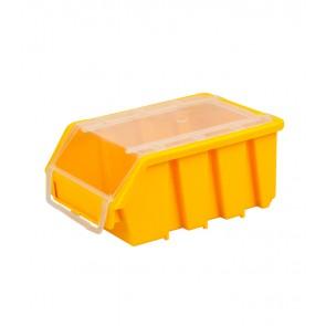 Alkatrésztároló doboz fedéllel, kicsi, sárga, 16x11,6x7,5 cm - UTOLSÓ 3 DB