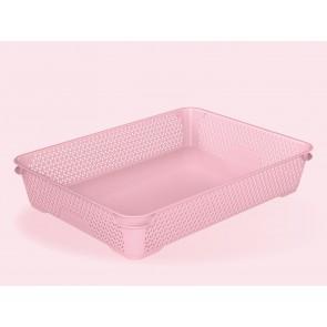 Mirko műanyag kosár, A4, rózsaszín, 36x26,5x7 cm