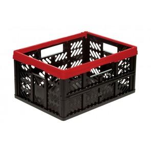 Műanyag, összecsukható rekesz, kicsi, piros, 47x34x23 cm