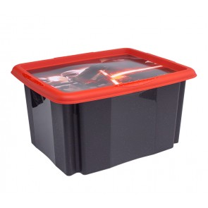 """Műanyag tároló doboz """"STAR WARS"""", 24 l, feket, fedéllel, 41x34x22 cm"""
